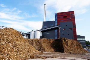 Chaufferie avec stockage de combustible biomasse